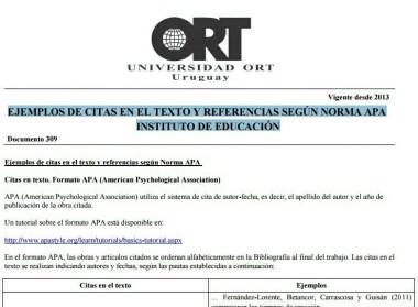 Modelo APA para citas, Universidad ORT Uruguay