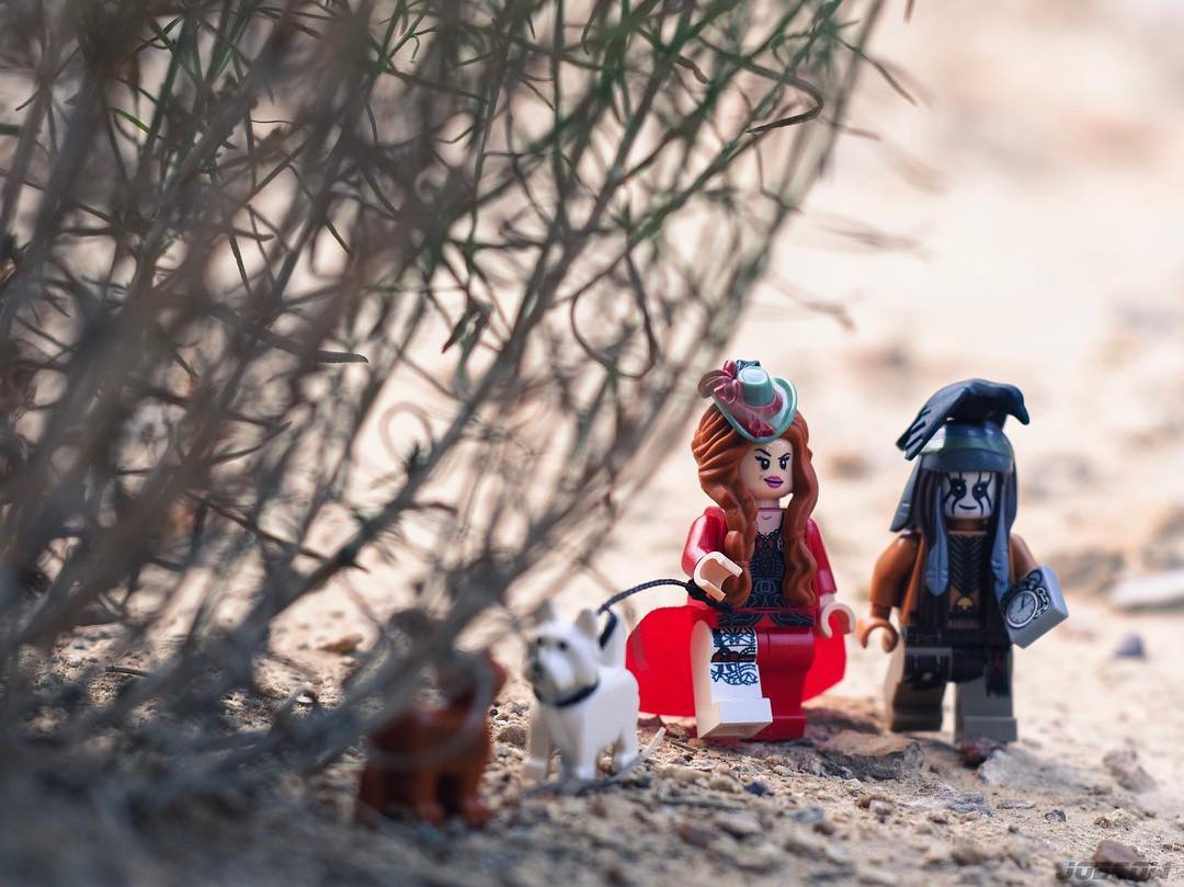 Red Harrington and Tonto discuss fashionable headgear on their morning stroll...