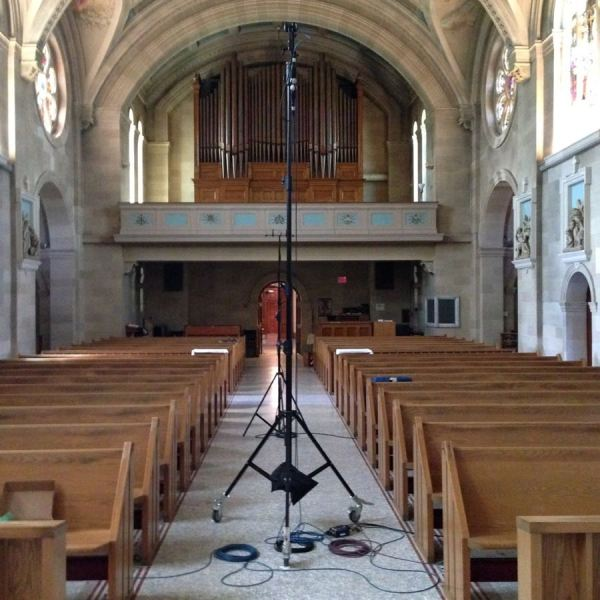 Setting up in the chapel
