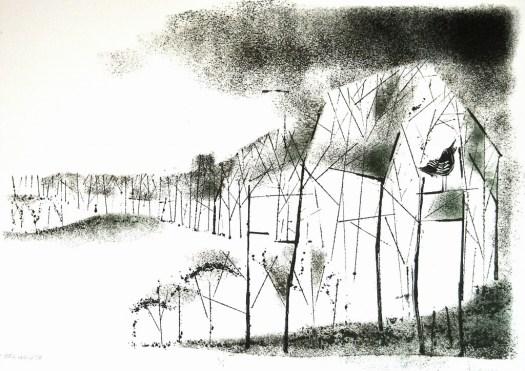 """Tree House, Monotype 15x21"""", 2010"""