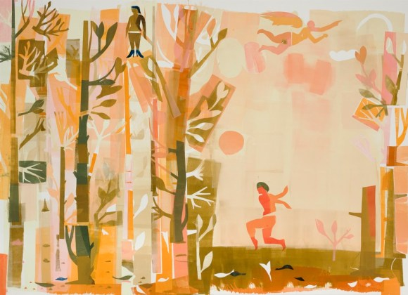 """""""Ursula in the Trees with Maenad and Angel"""" 2013, Monotype, 30x42"""". This is a large piece that can be seen in the """"Open Press 25th Anniversary Show"""" at McNichols Building."""