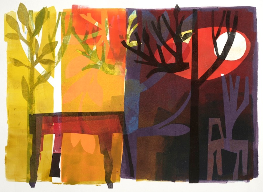 """Monotype, 11x15"""", on Canson Edition paper. 3-layered color monotype using brayers and Mylar pressings and stencils."""
