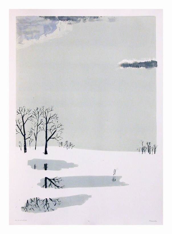 I wanted to try a homage to the Japanese Edo period printmakers with their airy minimal landscapes. I got inspired one cold day, by this scene outside my window., though I took out 26th Ave, some tennis courts , light poles and several trees.
