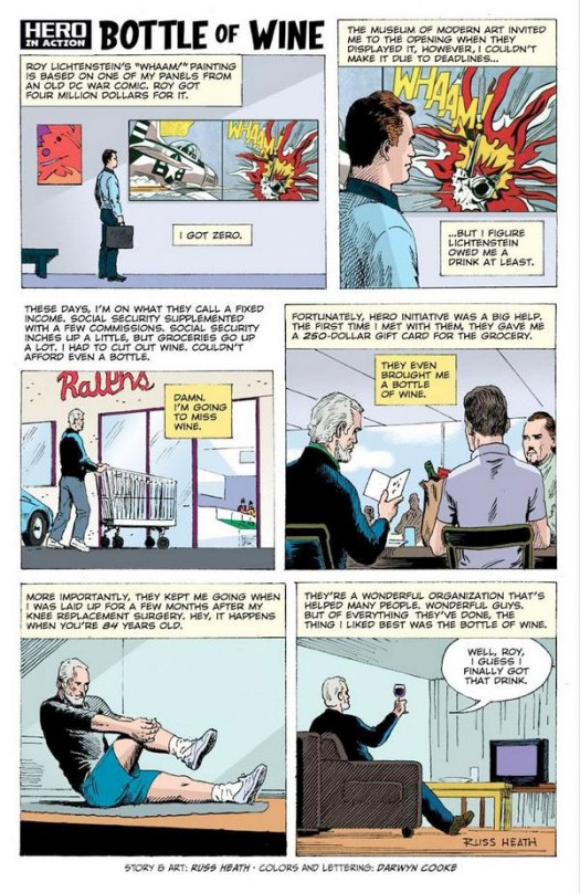"Russ Heath did this strip about his experience with ""Blam"" and Hero Initiative, a non-profit that aids Comics Artists. For some reason, the strip features ""Wham"", also appropriated from All American Men of War #89, but by Irv Novick."