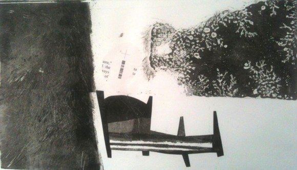 """Untitled Monotype w/ Chine Colle'. 13x20""""."""