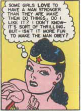 Wonder Woman contemplates the war of the sexes.