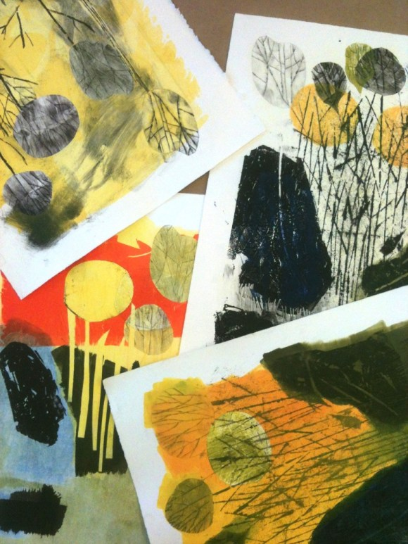 Montage of monotype studies done, September 2015. I'm trying some new techniques, and exploring how they fit in with older techniques.