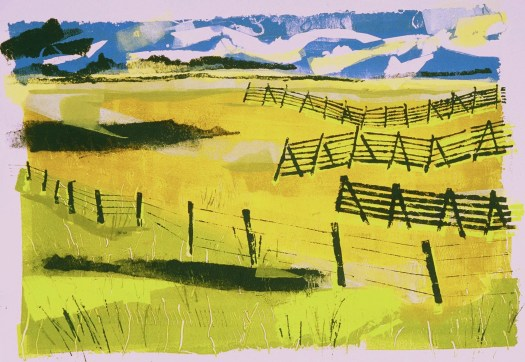 This monotype of the snow fences on  Wyoming Route 287 near the Colorado border is headed for a new home in the new COBank office- my first public collection. I loved the color when I made it, though I often wish I'd opted for a quieter sky. My excuse was that the sky is rarely quiet there, but it can be hard to compete with Mother Nature's gory, especially in Wyoming.