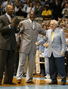 James Worthy, Michael Jordan, and Dean Smith