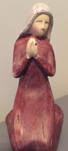 Kneeling Mary figurine from our family nativity set.