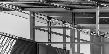 Black & white architectural close up photo