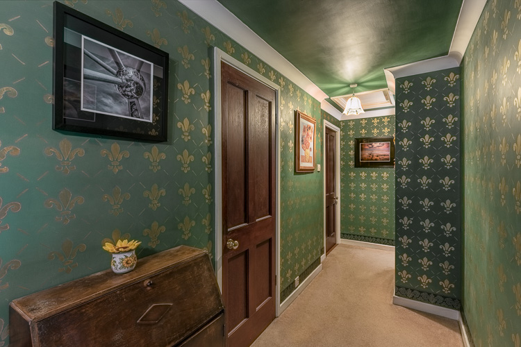 Interior design photography showing a classically inspired hallway