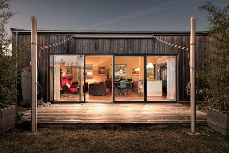 Twilight exterior view of Larch House - residential architectural photography