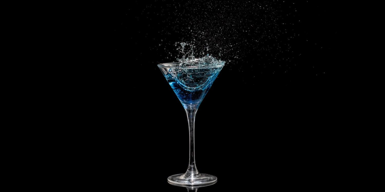 Splash in cocktail glass