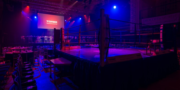 Boxing ring set up for corporate boxing