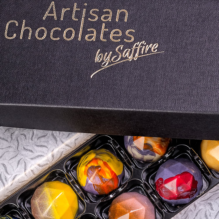 Colourful chocolates in their presentation box