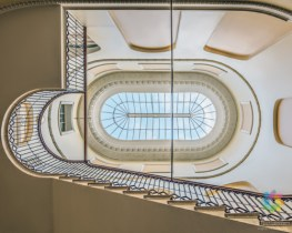 Stairwell and skylight viewed from below - award-winning image