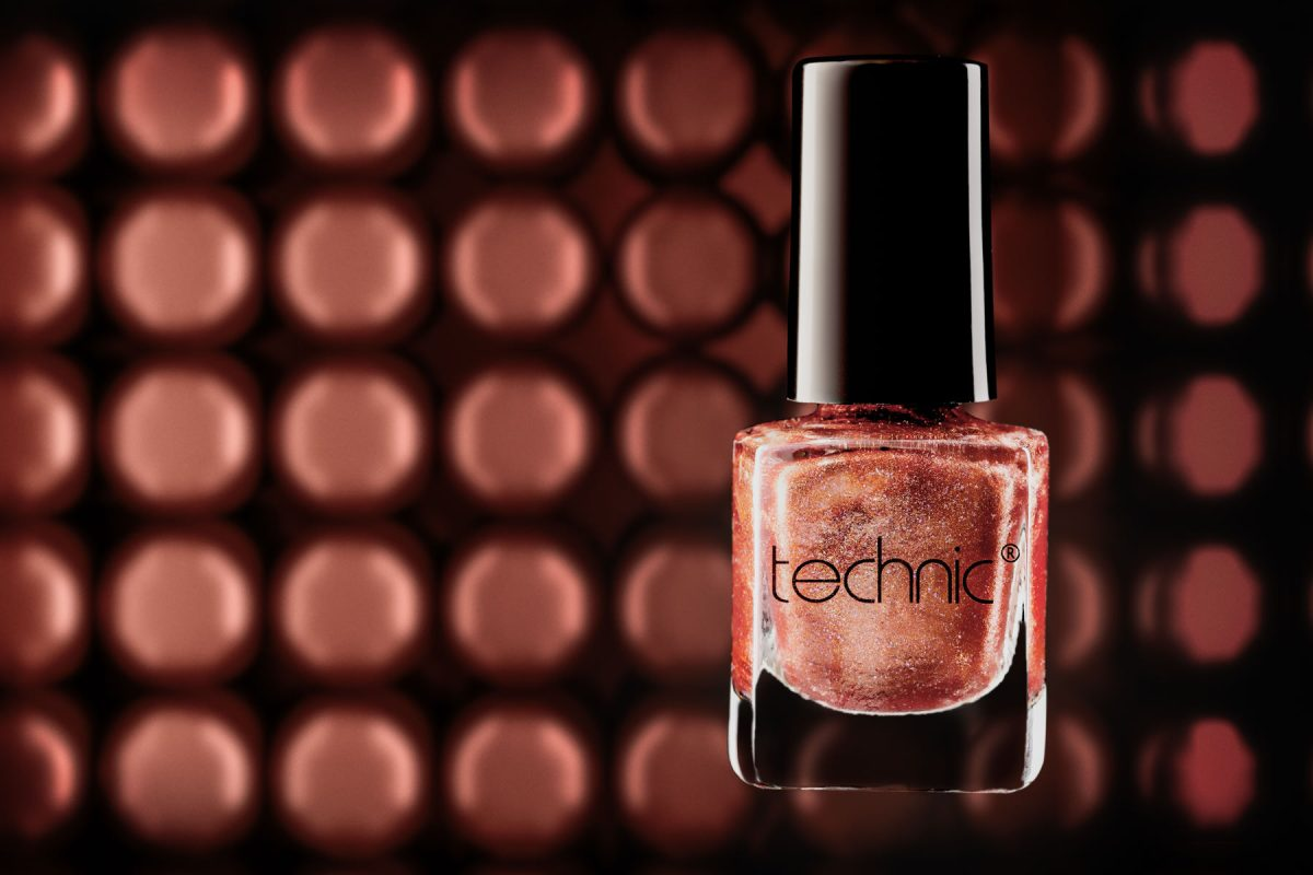 Glitter Nail Polish product photo with CGI background