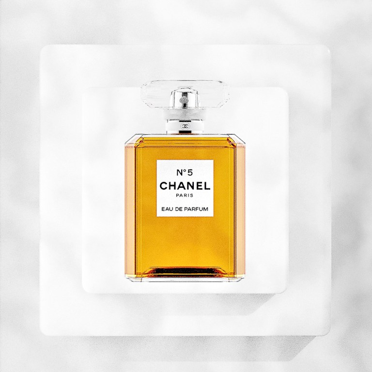 Chanel No 5 Perfume flat on blocks overhead view