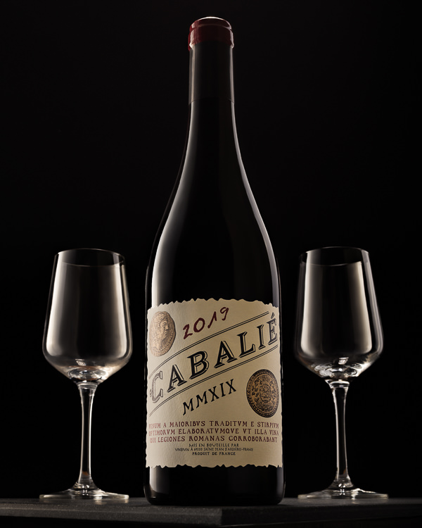 Cabalie Red Wine bottle with glasses