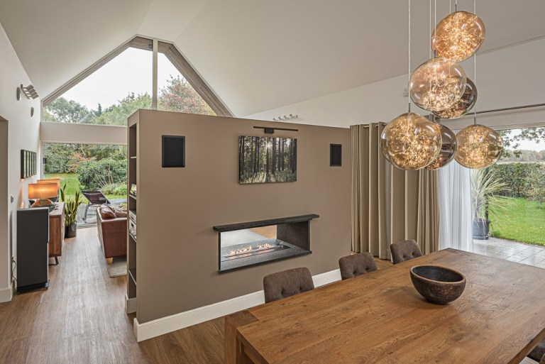 Interior architectural photography of open plan living space