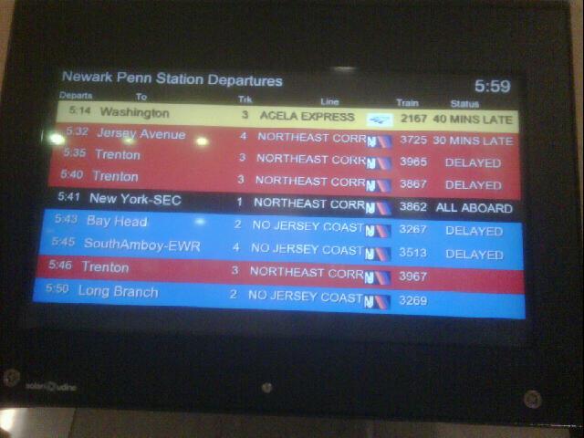 Train delays at Newark Penn Station