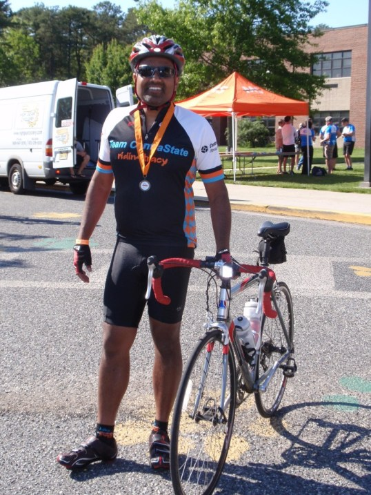 A picture of me after 85 miles, and before heading off to do another 15 miles