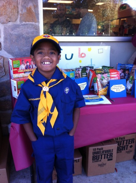 Selling popcorn for Cub Scouts