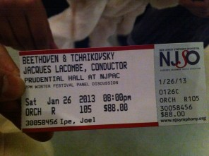 Tickets to the concert, Beethoven & Tchaikovsky