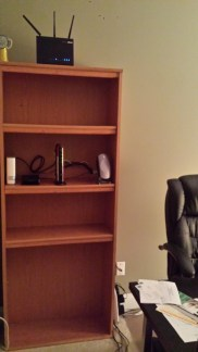 Hidden wiring behind the bookshelf makes it look so much neater.