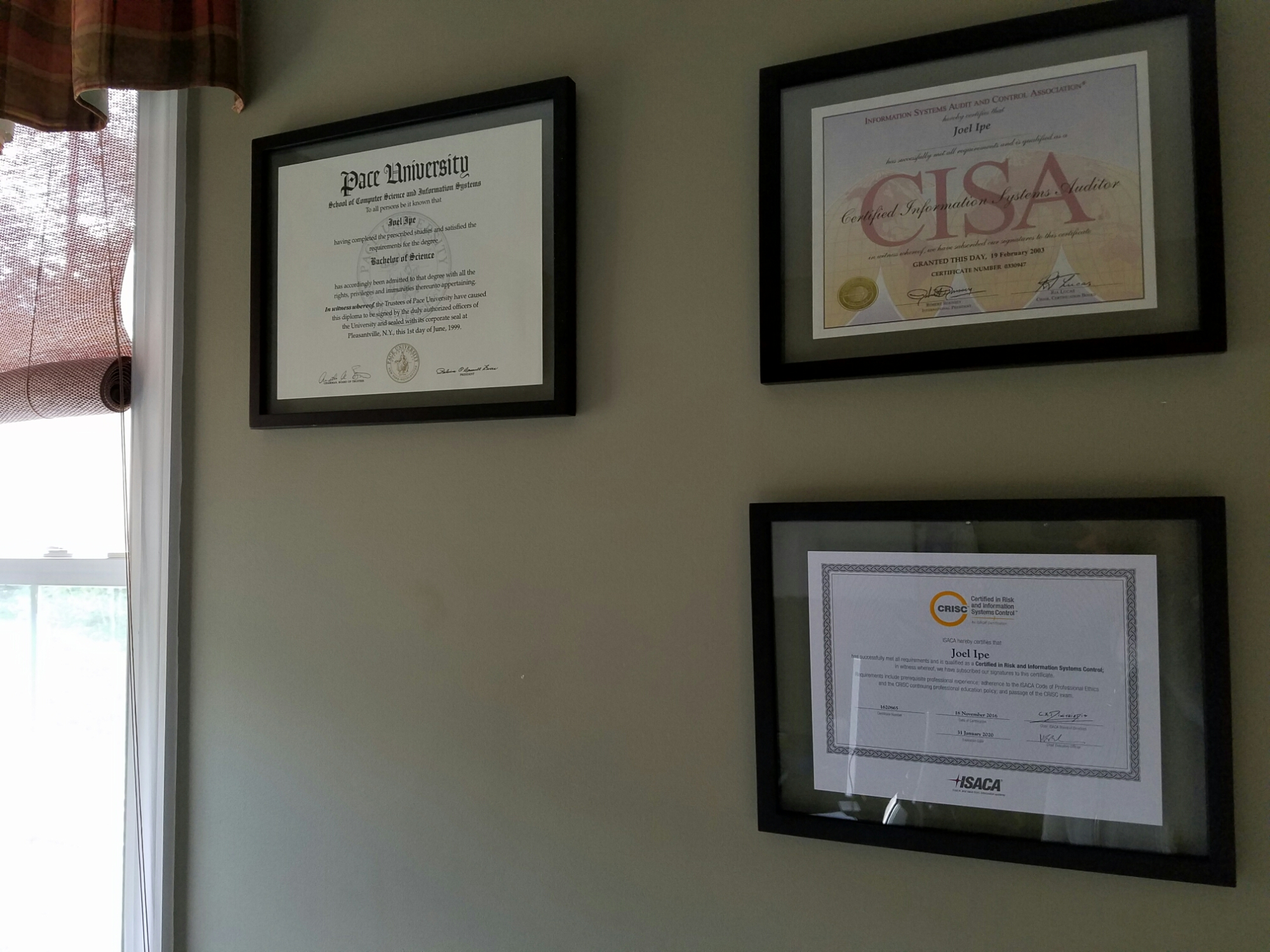 crisc certificate arrived wait mail official worth