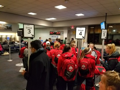 Waiting to board our flight in Newark, along with the entire Ohio State Women's Lacrosse team