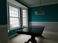 Room painted, table resurfaced, new chandelier