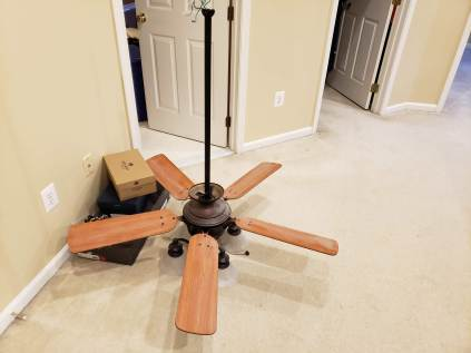 We took down our single ceiling fan with light kit