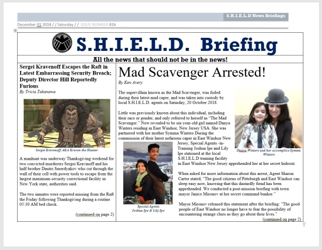 Front page of the Dec 2018 edition of S.H.I.E.L.D. Briefing