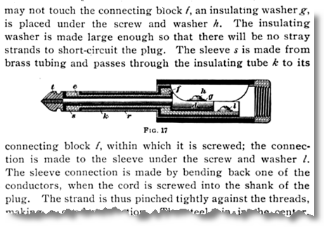 ...may not touch the connecting block f, an insulating washer g, is placed under the screw and washer h. The insulating washer is made large enough so that there will be no stray strands...
