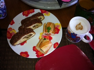 Bear Claw and Vietnamese Ban mi with a tripple shot cappucino 4hrb
