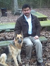 Joe with a German shepherd