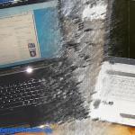 Meine beiden Probanten beim Laptopwechsel