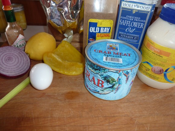 Delicious crab cakes ingredients.   joeshealthymeals.com