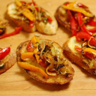 Bruschetta and sauteed peppers