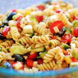 Cold Pasta Salad. Delicious low calorie salad that is perfect for a crowd or summer potluck.   joeshealthymeals.com