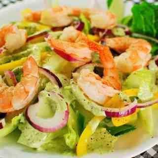 Green Goddess Salad with Poached Shrimp