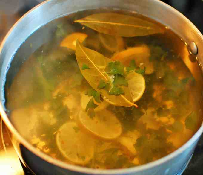 Poaching liquid.  Tasty salad with sweet poached shrimp. | joeshealthymeals.com