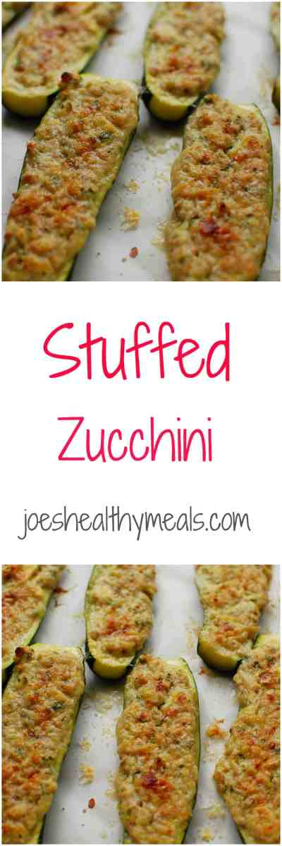 stuffed zucchini collage | joeshealthymeals.com