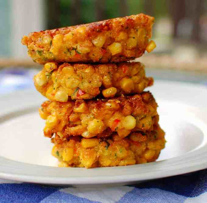 stacked corn fritters | joeshealthymeals.com