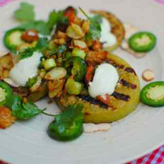 grilled green tomatoes with scallions and cilantro