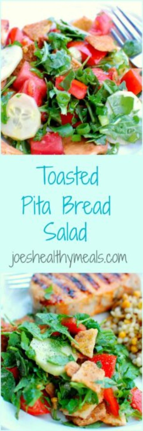 Toasted pita bread salad collage | www.joeshealthymeals.com