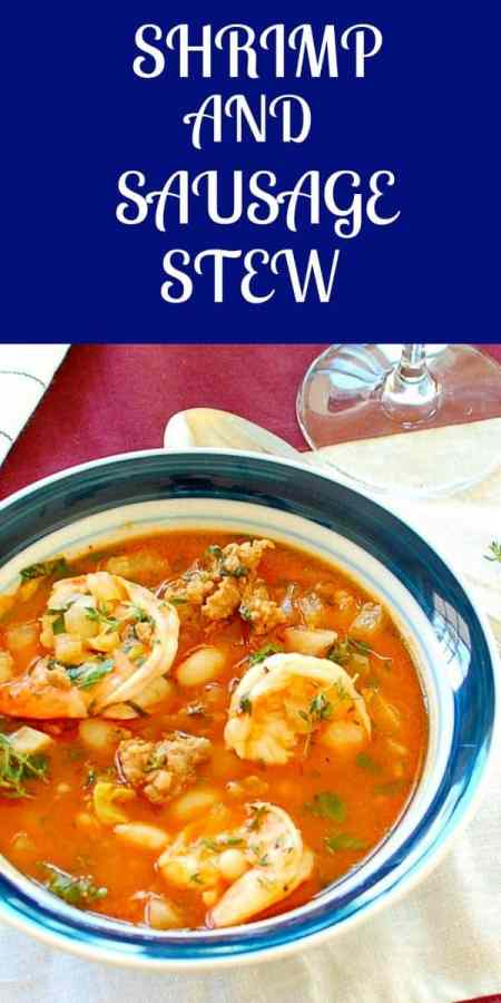 shrimp and sausage stew pinterest collage