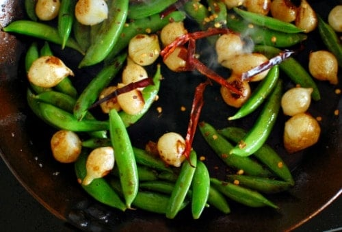 seared snap peas